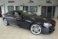 USED 2014 14 BMW 6 SERIES 3.0 640D M SPORT 2d AUTO 309 BHP FINISHED IN STUNNING CARBON BLACK WITH FULL NAPA CREAM LEATHER SEATS + FULL BMW SERVICE HISTORY + PRO SATELLITE NAVIGATION + HEADS UP DISPLAY + REVERSE CAMERA + WIRELESS CHANRGING + HEATED FRONT COMFORT SEATS WITH MEMORY + 19 INCH ALLOYS + ENHANCED BLUETOOTH + DIGITAL COCKPIT + DAB RADIO + TINTED GLASS + CRUISE CONTROL