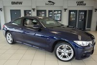 USED 2016 16 BMW 4 SERIES 3.0 430D XDRIVE M SPORT 2d AUTO 255 BHP FINISHED IN STUNNING TANZANITE BLUE WITH OYSTER CREAM LEATHER SEATS + FULL BMW SERVICE HISTORY + PRO SATELLITE NAVIGATION + XENON HEADLIGHTS + 18 INCH ALLOYS + HEATED FRONT SEATS + FOUR WHEEL DRIVE + DAB RADIO + PARKING SENSORS + CRUISE CONTROL + AIR CONDITIONING