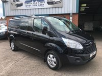 2016 FORD TRANSIT CUSTOM 290 LIMITED LR P/V LWB L2 EURO 6 130BHP FACTORY 6 SEAT CREW / KOMBI VAN LIMITED IN MET BLACK £14495.00