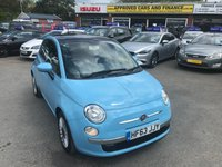 2013 FIAT 500 1.2 C LOUNGE AUTOMATIC 3 DOOR AUTO 69 BHP IN CHINA BLUE WITH A SUN ROOF AND ONLY 16000 MILES. £6999.00