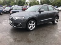 USED 2013 13 AUDI Q3 2.0 TDI QUATTRO S LINE 5d AUTO 175 BHP IN METALLIC GREY WITH  A HUGH SPEC AND ONLY 40000 MILES AND TWO OWNERS. APPROVED CARS ARE PLEASED TO OFFER THIS  AUDI Q3 2.0 TDI QUATTRO S LINE 5d AUTO 175 BHP IN METALLIC GREY WITH A HUGH SPEC INCLUDING Power steering, Air conditioning, Electric windows, Alloy wheels, Sat Nav, Bluetooth, Heated seats, (Full) Leather , Central locking, Metallic paint, Cruise control, 2 Keys +, Parking Sensors (rear), DAB Radio and much much more with a full service history with 4 service stamps all Audi Main Dealer in Aylesbury a stunning looking and driving Audi Q3 at such a sensib