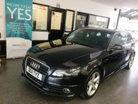 """USED 2011 11 AUDI A4 2.0 AVANT TDI S LINE SPECIAL EDITION 5d AUTO 141 BHP This A4 Avant S Line is finished in Phantom Black Pearl with Black Sprint cloth/leather seats. It is fitted with power steering, remote locking, electric windows and mirrors, dual climate control, cruise control, Bluetooth, Audi rear park parking assist, rain sensor and auto xenon plus lights, 18"""" alloy wheels, CD Stereo and more. It has been owned by two companies and comes with a full and complete service history in the form of a digital printout. The Mot runs till April 2020"""