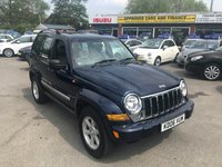 USED 2006 06 JEEP CHEROKEE 3.7 LIMITED V6 5d AUTO 201 BHP IN METALLIC BLUE WITH A SERVICE HISTORY AND ONLY 77,000 MILES! (TRADE CLEARANCE) APPROVED CARS AND FINANCE ARE PLEASED TO OFFER THIS JEEP CHEROKEE 3.7 LIMITED V6 5 DOOR AUTOMATIC 201 BHP IN METALLIC BLUE WITH A SERVICE HISTORY AND ONLY 77,000 MILES. THIS IS A VERY SORT AFTER CAR WITH A GREAT SPEC SUCH AS BLUETOOTH, AIR CON, ELECTRIC WINDOWS AND A FULL LEATHER INTERIOR. A PERFECT 4X4 OR 4X2 IF NEEDED NOT A VEHICLE TO MISS OUT ON BUT DUE TO THE AGE AND THE MILEAGE OF THE VEHICLE THIS IS BEING OFFERED AS A TRADE CLEARANCE CAR.