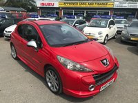 2007 PEUGEOT 207 1.6 GTI PACK 3d 172 BHP IN METALLIC RED WITH A FULL SERVICE HISTORY AND ONLY 77,000 MILES WITH BODY KIT AND SPOILER. £2799.00