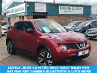 USED 2013 63 NISSAN JUKE 1.6 N-TEC Force Red Metallic with Antracite Cloth 5 Door 115 BHP Lovely Juke 1.6 N-Tec only 44527 Miles FSH Sat Nav Rev Camera Bluetooth & Lots more
