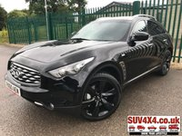USED 2010 C INFINITI FX 3.0 FX30D 5d AUTO 235 BHP ALLOYS SATNAV PRIVACY CRUISE LEATHER SUNROOF A/C MOT 12/19 SATELLITE NAVIGATION. SUNROOF. CRUISE CONTROL. STUNNING BLACK MET WITH FULL BLACK LEATHER TRIM. ELECTRIC HEATED AND COOLING MEMORY SEATS. COLOUR CODED TRIMS 21 INCH ALLOY WHEELS. PRIVACY GLASS. PARKING SENSORS. REVERSING CAMERA. BLUETOOTH PREP. CLIMATE CONTROL WITH AIR CON. R/CD PLAYER MULTI MEDIA. MFSW. ROOF BARS. SERVICE HISTORY. MOT 12/19. PRESTIGE SUV CENTRE LS24 8EJ TEL 01937 849492 OPTION 1