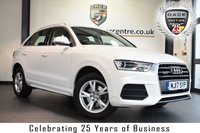 "USED 2017 17 AUDI Q3 2.0 TDI QUATTRO SE 5DR 182 BHP full service history *NO ADMIN FEES* FINISHED IN STUNNING SHELL WHITE WITH CLOTH UPHOLSTERY + FULL SERVICE HISTORY + BLUETOOTH + DAB RADIO + HEATED SEATS + CLIMATE CONTROL + RAIN SENSORS + HEATED ELECTRIC FOLDING MIRRORS  + PARKING SENSORS + 17"" ALLOY WHEELS"