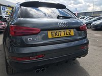 USED 2017 17 AUDI Q3 2.0 TDI QUATTRO BLACK EDITION 5d AUTO 182 BHP IN METALLIC GREY WITH A FULL MAIN DEALER AUDI HISTORY WITH 36,500 MILES APPROVED CARS AND FINANCE ARE PLEASED TO OFFER THIS AUDI Q3 2.0 TDI QUATTRO BLACK EDITION 5 DOOR AUTOMATIC 182 BHP IN METALLIC GREY WITH A FULL AUDI SERVICE HISTORY AT 17K, AND 35K WITH ONLY 36,500 MILES ON THE CLOCK. THIS VEHICLE HAS A MASSIVE SPEC SUCH AS BLUETOOTH, SAT NAV, HALF LEATHER INTERIOR, BOSE SOUND SYSTEM, PARKING SENSORS, ELECTRIC TAILGATE , ALLOY WHEELS AND MUCH MORE. THIS IS A PERFECT FAMILY CAR WITH A A GREAT SPECIFICATION AND A STUNNING LOOKING CAR. FOR FURTHER INFORMATION PLEAS