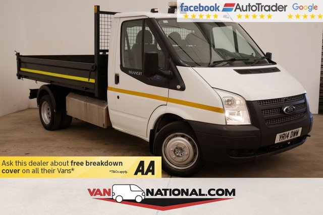 USED 2014 14 FORD TRANSIT 2.2 350 DRW SINGLE CAB TIPPER (LOW MILES TWIN WHEELER) * BLUETOOTH * HEATED SCREEN * TOWBAR *