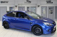 USED 2010 10 FORD FOCUS 2.5 RS 3d 300 BHP FINISHED IN STUNNING BLUE WITH PARTIAL BLACK LEATHER RECARO SPORT SEATS + FULL SERVICE HISTORY +19 INCH ALLOYS + XENON HEADLIGHTS + BLUETOOTH + DAB RADIO