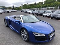 USED 2015 15 AUDI R8 5.2 SPYDER V10 QUATTRO 2d AUTO 518 BHP Sepang Blue Pearlescent, high spec & only 8,100 miles