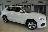 USED 2016 16 AUDI Q3 2.0 TDI SE 5d 148 BHP FINISHED IN STUNNING SHELL WHITE WITH CLOTH SPORTS SEATS + SERVICE HISTORY + SATELLITE NAVIGATION + DAB RADIO + BLUETOOTH + PARKING SENSORS + CLIMATE CONTROL + CRUISE CONTROL + MULTIFUNCTION STEERING WHEEL + ALLOY WHEELS
