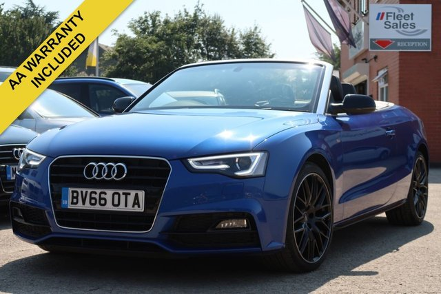 USED 2016 66 AUDI A5 2.0 TDI S LINE PLUS EDITION CONVERTIBLE 187 BHP NAVIGATION, LEATHER + REVERSING CAMERA
