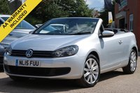 USED 2015 15 VOLKSWAGEN GOLF 1.6 SE TDI BLUEMOTION TECHNOLOGY CONVERTIBLE 2d 104 BHP FULL SERVICE HISTORY + FRONT AND REAR PARKING SENSORS