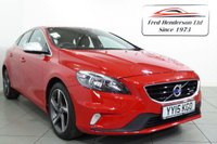 USED 2015 15 VOLVO V40 1.6 T2 R-DESIGN 5d 118 BHP Fantastic condition, R DesignFinished in stunning sports red alcantara R-Design sports trim, Volvo 'R-Design' sports body styling,  climate control / automatic air conditioning, trip computer, speed limiter, leather trimmed sports multi function steering wheel, Bluetooth telephone prep, DAB digital radio, aux / media in, start / stop function, tyre pressure monitoring system, ambient lighting, electric heated folding mirrors, auto headlights, rain sensor, power assisted steering, abs, airbags, e