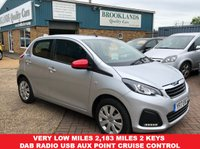 USED 2017 17 PEUGEOT 108 1.0 ACTIVE 5 Door Silver Metallic Only Done 2183 Miles From New!!!6 8 BHP Very Very Low Miles 2,183 Miles 2 Keys DAB Radio USB Aux Point Cruise Control