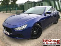 USED 2014 14 MASERATI GHIBLI 3.0 DV6 4d AUTO 275 BHP ALLOYS SATNAV LEATHER CRUISE LOW MILES FSH A/C MOT 04/20 SATELLITE NAVIGATION. STUNNING BLUE MET WITH FULL BLACK SPORTS LEATHER TRIM. ELECTRIC HEATED MEMORY SEATS. CRUISE CONTROL. DYNAMIC DRIVING MODES. 20 INCH BLACK UPGRADED ALLOY WHEELS. COLOUR CODED TRIMS. PRIVACY GLASS. PARKING SENSORS WITH PARK ASSIST AND REVERSING CAMERA. BLUETOOTH PREP. DUAL CLIMATE CONTROL WITH AIR CON. RADIO/CD/MULTIMEDIA PLAYER. MFSW. MOT 04/20. FULL SERVICE HISTORY. LOW MILEAGE. LUXURY SPORTS CAR. PRESTIGE SUV CENTRE - LS24 8EJ. TEL 01937 849492 OPTION 1