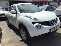 USED 2013 13 NISSAN JUKE 1.6 ACENTA 5d 117 BHP White, 65000 miles, alloys, air/con, superb.