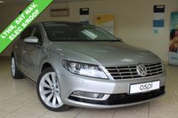 USED 2014 14 VOLKSWAGEN CC 2.0 GT TDI BLUEMOTION TECHNOLOGY DSG 4d AUTO 138 BHP TWO TONE BLACK AND CREAM LEATHER, HEATED FRONT SEATS, BLUETOOTH, CRUISE CONTROL, SATELLITE NAVIGATION, REAR PRIVACY GLASS, XENONS, FRONT AND REAR PARKING SENSORS, ELECTRIC GLASS SUNROOF, LOW MILEAGE