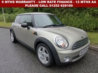 USED 2009 59 MINI HATCH ONE 1.4 ONE 3d 94 BHP All retail cars sold are fully prepared and include - Oil & filter service, 6 months warranty, minimum 6 months Mot, 12 months AA breakdown cover, HPI vehicle check assuring you that your new vehicle will have no registered accident claims reported, or any outstanding finance, Government VOSA Mot mileage check. Because we are an AA approved dealer, all our vehicles come with free AA breakdown cover and a free AA history check.. Low rate finance available. Up to 3 years warranty available.