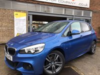 USED 2015 15 BMW 2 SERIES 2.0 218D M SPORT ACTIVE TOURER 5d AUTO 148 BHP M SPORT AUTOMATIC IN STUNNING ESTORIL BLUE & ONLY £30 A YEAR TO TAX