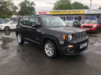 2015 JEEP RENEGADE 1.6 M-JET LONGITUDE 5d 118 BHP IN BLACK WITH ONLY 51000 MILES WITH SAT NAV AND BLUETOOTH. £8999.00
