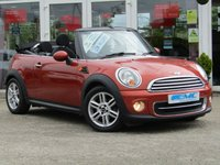 USED 2012 62 MINI CONVERTIBLE 1.6 COOPER 2d 122 BHP STUNNING, Low mileage, MINI COOPER 1.6 CONVERTIBLE, 122 BHP. Finished in VOLCANIC ORANGE PEARL with contrasting, Black HEATED LEATHER Trim. This Mini is a cool and classy looking Convertible. It feels sporty and is great fun to drive. Features include, Heated Part Leather seats, Rear Park Sensors, Climate, Alloys, Low mileage and much more.