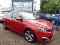 USED 2015 15 PEUGEOT 308 1.6 HDI S/S ALLURE 5d 115 BHP FULL SERVICE HISTORY, GREAT ECONOMY,  ALLOYS, COLOUR SAT NAV, BLUETOOTH