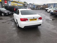 USED 2012 12 BMW 3 SERIES 3.0 325I M SPORT 2d AUTO 215 BHP IN WHITE WITH ONLY 58000 IN IMMACULATE CONDITION. APPROVED CARS ARE PLEASED TO OFFER THIS BMW 3 SERIES 3.0 325I M SPORT 2d AUTO 215 BHP IN WHITE WITH ONLY 58000 IN IMMACULATE CONDITION INSIDE AND OUT WITH A FULL BLACK LEATHER ELECTRIC INTERIOR,REAR PARKING SENSORS,UPGRADED ALLOYS,ZENON HEADLIGHTS,SAT NAV(BIG SCREEN),BLUETOOTH,I DRIVE AND MUCH MORE WITH A FULL SERVICE HISTORY SERVICED AT 12K,17K,23K,37K,42K AND 57K IN THE BEST COLOUR WHITE A GREAT M SPORT BMW AT A VERY SENSIBLE PRICE.