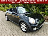 USED 2010 10 MINI CONVERTIBLE 1.6 COOPER 2d 122 BHP All retail cars sold are fully prepared and include - Oil & filter service, 6 months warranty, minimum 6 months Mot, 12 months AA breakdown cover, HPI vehicle check assuring you that your new vehicle will have no registered accident claims reported, or any outstanding finance, Government VOSA Mot mileage check. Because we are an AA approved dealer, all our vehicles come with free AA breakdown cover and a free AA history check.. Low rate finance available. Up to 3 years warranty available.