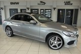 USED 2015 65 MERCEDES-BENZ C CLASS 2.1 C250 D AMG LINE PREMIUM 4d AUTO 204 BHP PALLADIUM SILVER WITH FULL BLACK LEATHER SEATS + FULL MERCEDES BENZ SERVICE HISTORY  + SATELLITE NAVIGATION + PANORAMIC SUNROOF + REVERSE CAMERA + £30 ROAD TAX + BLUETOOTH + 18 INCH ALLOYS + XENON HEADLIGHTS + HEATED FRONT SEATS + LED DAYTIME LIGHTS + PARKING SENSORS + BLIND SPOT ASSIST + LANE ASSIST + AIR CONDITIONING