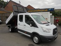 2016 FORD TRANSIT 2.2 350 L3 DCB C/C DRW  125 BHP DOUBLE CAB TIPPER  1 STOP ALLOY BODY , FULL SERVICE HISTORY ((( FINANCE AVAILABLE ))) £14500.00