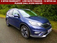 USED 2015 65 HONDA CR-V 1.6 I-DTEC SR 5d 118 BHP All retail cars sold are fully prepared and include - Oil & filter service, 6 months warranty, minimum 6 months Mot, 12 months AA breakdown cover, HPI vehicle check assuring you that your new vehicle will have no registered accident claims reported, or any outstanding finance, Government VOSA Mot mileage check. Because we are an AA approved dealer, all our vehicles come with free AA breakdown cover and a free AA history check.. Low rate finance available. Up to 3 years warranty available.