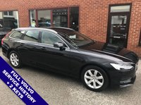 "USED 2017 17 VOLVO V90 2.0 D4 MOMENTUM 5DOOR AUTO 188 BHP DAB   :   Sat Nav   :   Folding / Heated Mirrors   :   Auto Headlights   :   Car Hotspot / WiFi       Cruise Control / Speed Limiter    :    Bluetooth    :    Climate Control / Air Conditioning      Heated Front Seats     :     Auto Tailgate     :     Rear Parking Sensors     :     17"" Alloy Wheels     2 Keys   :   Full Volvo Service History"