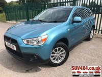 USED 2011 11 MITSUBISHI ASX 1.6 2 5d 115 BHP ALLOYS A/C MOT 02/20 4WD. STUNNING BLUE MET WITH FULL BLACK CLOTH TRIM. 16 INCH ALLOYS. COLOUR CODED TRIMS. PARKING SENSORS. AIR CON. MOT 02/20. SERVICE HISTORY. SUV & 4X4 CAR CENTRE LS23 7FR. TEL 01937 849492 OPTION 2