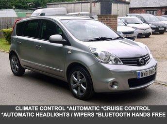 2011 NISSAN NOTE 1.6 N-TEC 5 Door Automatic Hatchback In Silver With Built In Sat Nav £5995.00