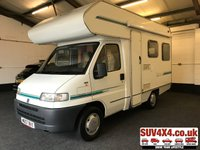 USED 2000 W FIAT DUCATO 1.9 MOTORHOME 1d NO VAT 4 BIRTH FULL KITCHEN TOILET LOW MILES SH MOT 04/20 NO VAT. 4 BIRTH MOTOR HOME. FULL GAS KITCHEN. FRIDGE. TOILET W/SINK. BIKE RACK. CARVER HEATING. DINING AREA. WHITE WITH BLUE CLOTH TRIM. COLOUR CODED TRIMS. PAS. R/CD PLAYER. TOW BAR. MOT 04/20. SERVICE HISTORY. AGE/MILEAGE RELATED SALE. PRESTIGE SUV 4X4 CENTRE - LS24 8EJ. TEL 01937 849492 OPTION 1