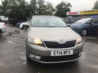 USED 2014 14 SKODA RAPID 1.4 SPACEBACK ELEGANCE GREENTECH TSI DSG 5d AUTO 121 BHP IN METALLIC BEIGE WITH 39,000 MILES AND A FULL SERVICE HISTORY! APPROVED CARS AND FINANCE ARE PLEASED TO OFFER THIS SKODA RAPID 1.4 SPACEBACK ELEGANCE GREENTECH TSI DSG 5 DOOR AUTOMATIC 121 BHP IN METALLIC BEIGE WITH 39,000 MILES AND A FULL SERVICE HISTORY AT 11K, 17K, 27K, AND 36K. THIS VEHICLE HAS A GREAT SPEC SUCH AS BLUETOOTH, AUX , ELECTRIC WINDOWS, ELECTRIC MIRRORS, PANORAMIC ROOF, ALLOY WHEELS AND MUCH MORE. THIS IS A PERFECT FAMILY CAR WITH A FULL SERVICE HISTORY NOT A VEHICLE TO BE MISSED PLEASE CALL ON 01622871555.