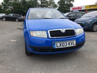 USED 2003 03 SKODA FABIA 1.2 CLASSIC 5d 54 BHP IN METALLIC BLUE WITH 69,000 MILES AND A FULL SERVICE HISTORY ( TRADE CLEARANCE ) APPROVED CARS AND FINANCE ARE PLEASED TO OFFER THIS SKODA FABIA 1.2 CLASSIC 5 DOOR 54 BHP IN METALLIC BLUE WITH 69,000 MILES WITH A FULL SERVICE HISTORY AT 9K, 10K, 13K, 15K, 17K, 19K, 23K, 26K, 31K, 36K, 40K, 45K, 50K, AND 60K. THIS VEHICLE HAS A GOOD SPEC SUCH RADIO, POWER STEERING, CENTRAL LOCKING AND MUCH MORE. PERFECT CHEAP RUN AROUND CAR PERFECT FOR A NEW DRIVER WITH A INCREDIBLE SERVICE HISTORY BUT DUE TO THE AGE AND MILEAGE OF THE VEHICLE THIS IS BEING OFFERED A TRADE CLEARANCE