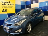 "USED 2014 64 HYUNDAI I40 1.7 CRDI STYLE BLUE DRIVE 5d 134 BHP A stunning example of this  highly soughtafter family diesel estate finished in unmarked metalic blue complemented with 16"" 5 spoke alloys,this car comes with phenominal spec inc satelite navigation,bluetooth ,cd radio with usb/aux imputs,front & rear p/sensors + reverse camera,dual zone climate control,cruise control/speed limiter,start stop,auto hill hold,auto lights/wipers,voice control,p/fold mirrors plus all the usual refinements .Road tax of £30 a year plus 62.8 combined mpg,one to view."