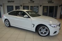 USED 2015 15 BMW 4 SERIES 2.0 420D M SPORT 2d 181 BHP FINISHED IN STUNNING ALPINE WHITE WITH FULL OYSTER CREAM LEATHER SEATS + COMPREHENSIVE BMW SERVICE HISTORY + PRO SATELLITE NAVIGATION + XENON HEADLIGHTS + DAB RADIO + BLUETOOTH + HEATED FRONT SEATS + PARKING SENSORS + AIR CONDITIONING + CRUISE CONTROL