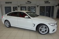 USED 2016 16 BMW 4 SERIES 2.0 420D M SPORT GRAN COUPE 4d AUTO 188 BHP FINISHED IN STUNNING APLINE WHITE WITH FULL RED LEATHER SEATS + COMPREHENSIVE BMW SERVICE HISTORY + PRO SATELLITE NAVIGATION + XENON HEADLIGHTS + DAB RADIO + BLUETOOTH + HEATED FRONT SEATS + £30 ROAD TAX + PARKING SENSORS + AIR CONDITIONING + CRUISE CONTROL