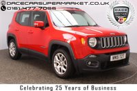 USED 2015 15 JEEP RENEGADE 1.6 M-JET LONGITUDE 5DR SAT NAV 118 BHP £30 12 MONTHS ROAD TAX + SATELLITE NAVIGATION + PARKING SENSOR + BLUETOOTH + CRUISE CONTROL + MULTI FUNCTION WHEEL + AIR CONDITIONING + DAB RADIO + ELECTRIC WINDOWS + RADIO/CD/AUX/USB + ELECTRIC MIRRORS + 17 INCH ALLOY WHEELS
