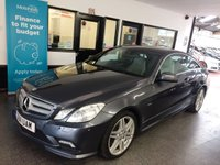 "USED 2011 11 MERCEDES-BENZ E CLASS 2.1 E250 CDI BLUEEFFICIENCY SPORT 2d AUTO 204 BHP This E250 Sport Coupe is finished in Tenorite Grey metallic with full heated grey leather partial electric seats. It is fitted with power steering, remote locking, electric windows, mirrors with power fold,  dual zone climate control, cruise control, heated front seats, front and rear parking sensors, LED day lights, auto Xenon headlights, Colour Screen Satellite Navigation, Bluetooth, CD Stereo with  Media connection, 18"" AMG alloy wheels, steering wheel mounted paddle change gears and more."