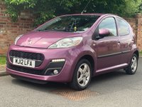 USED 2012 12 PEUGEOT 107 1.0 ALLURE 5d 68 BHP 1 OWNER, EXCELLENT SERVICE HISTORY, £0 TAX, 1YR MOT, EXCELLENT CONDITION, ALLOYS, AIR CON, BLUETOOTH, FOGS, RADIO CD, E/WINDOWS, R/LOCKING, FREE WARRANTY, FINANCE AVAILABLE, HPI CLEAR, PART EXCHANGE WELCOME,