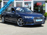 USED 2016 16 AUDI A4 2.0 AVANT TDI S LINE 5d 148 BHP STUNNING, £30 Road Tax, New Shape, AUDI A4 2.0 TDI S/LINE AVANT. Finished in SCUBA BLUE METALLIC with contrasting Sports Part BLACK LEATHER trim. This popular New Shape Audi Estate has genuine good looks and a luxurious feel. Great to drive and practical with loads of room for the average sized family. Features include, Sat Nav, Blue Tooth, Parking Sensors, DAB, Electric Boot, Part Leather and much more.