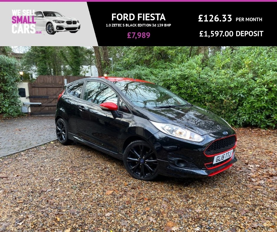 USED 2015 15 FORD FIESTA 1.0 ZETEC S BLACK EDITION 3d 139 BHP RED ROOF GRILL AND MIRROR CAPS FULL SERVICE LOW MILES BLUETOOTH