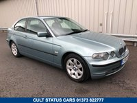 USED 2002 02 BMW 3 SERIES COMPACT 1.8 316TI SE 114 BHP PETROL MANUAL 1 LADY OWNER, JUST 73K MILES, FULL HISTORY!