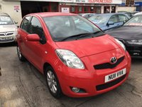 USED 2011 11 TOYOTA YARIS 1.3 T SPIRIT VVT-I 5d 99 BHP Bright red, 5 door, sat/nav, 62000 miles, excellent service history, air/con, low road tax,