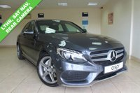USED 2015 64 MERCEDES-BENZ C CLASS 2.1 C220 BLUETEC AMG LINE 4d AUTO 170 BHP BLACK ANTHRACITE LEATHER, SATELLITE NAVIGATION, RAIN SENSOR, HEATED FRONT SEATS, FRONT AND REAR CAMERA, PARK ASSIST, THROUGH LOAD FACILITY, COMPARTMENT PK, CRUISE CONTROL, ELECTRIC FOLDING MIRRORS, AMG STYLING PK, 18 INCH AMG ALLOYS, PARKING PK, MIRROR PK,